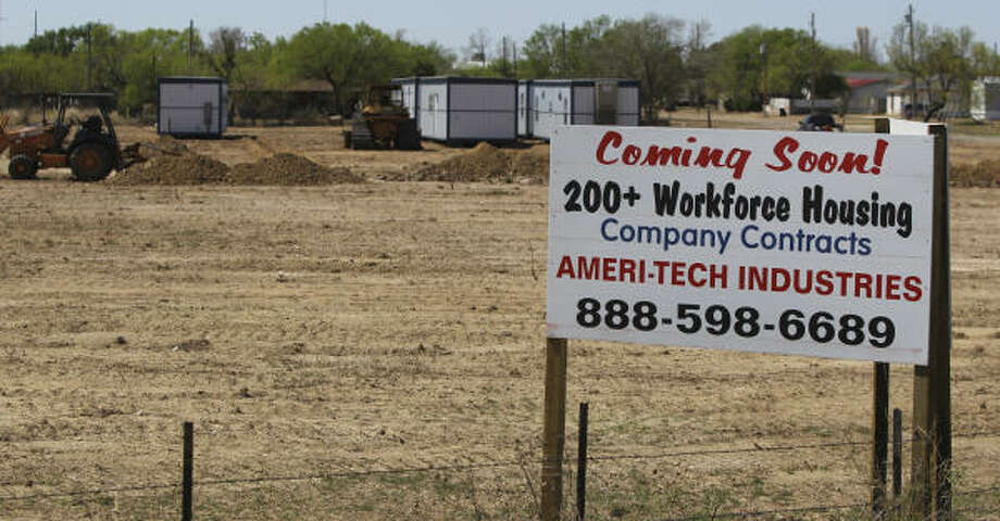Housing for oil field workers has become an issue for small towns like Asherton. Companies are moving in and putting up temporary housing for workers. Photo: John Davenport, San Antonio Express-News