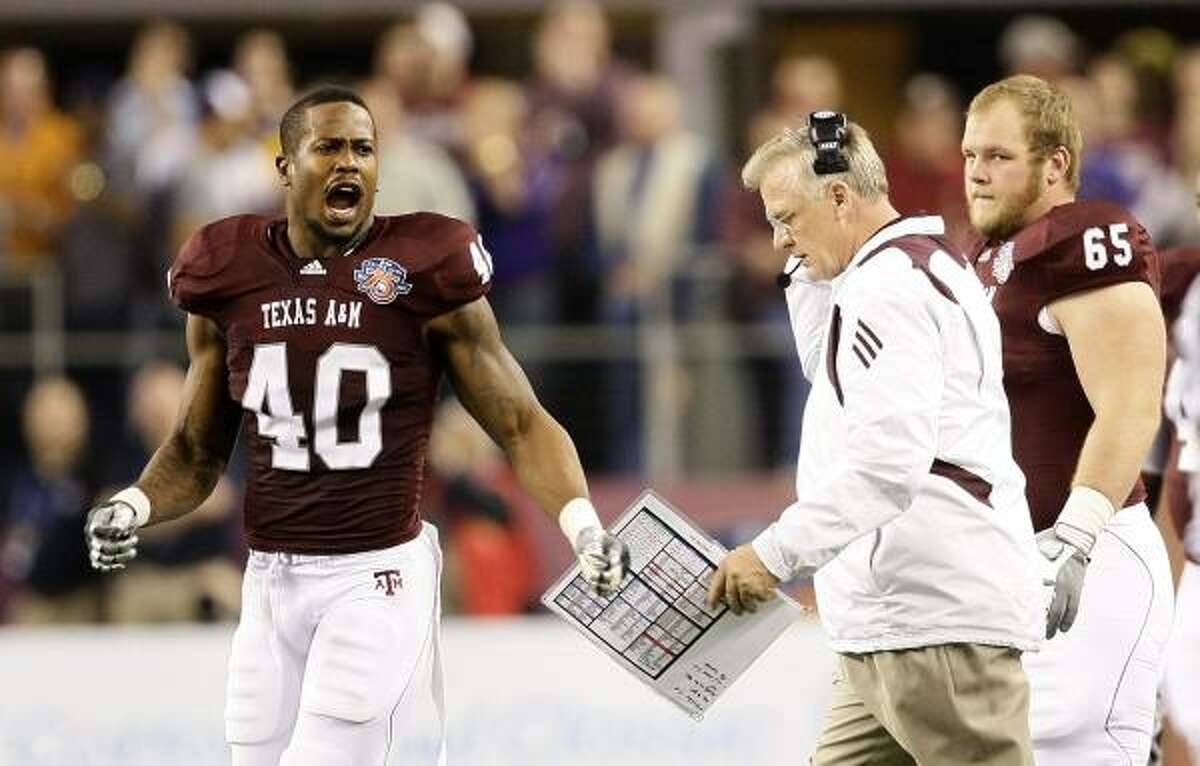 Texas A&M linebacker Von Miller (40) is a player who could perhaps become an immediate contributor for the Texans.