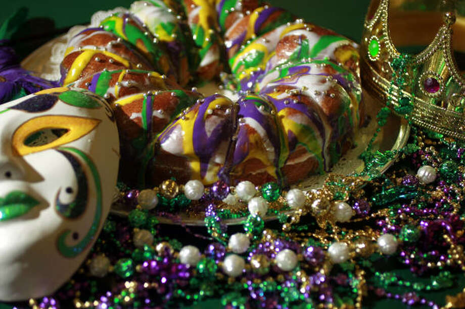"Sandi Bubbert's colorful king cake weighs about 3 pounds and is formed by hand. ""If you really want one that tastes like a Louisiana one, that's mine,"" she says. Photo: Johnny Hanson :, Chronicle"
