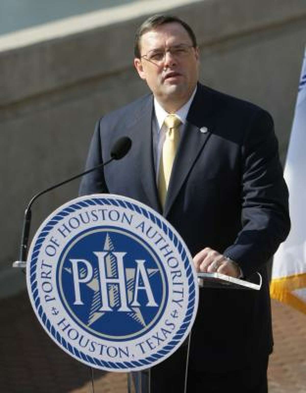 Alec Dreyer, CEO of the Port of Houston Authority, speaks at a news conference, Oct. 19, 2010.