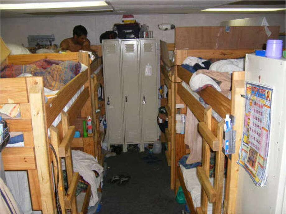 This photo of the interior of one of the trailers in the Mississippi camp is said by workers to be representative of the accommodations in the Texas camp as well. Photo: Dewey & LeBoeuf LLP