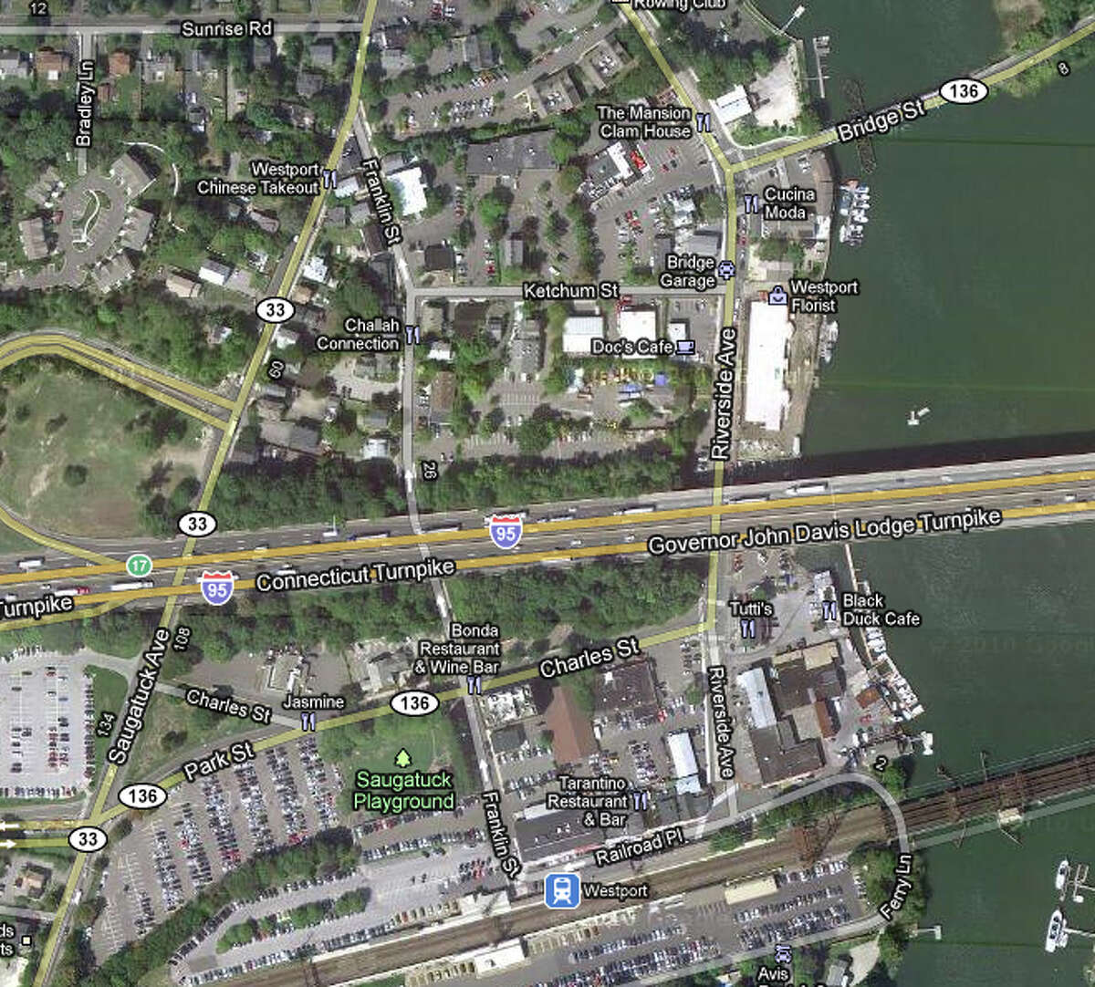 A satellite view of Westport's Saugatuck section from a Google map.