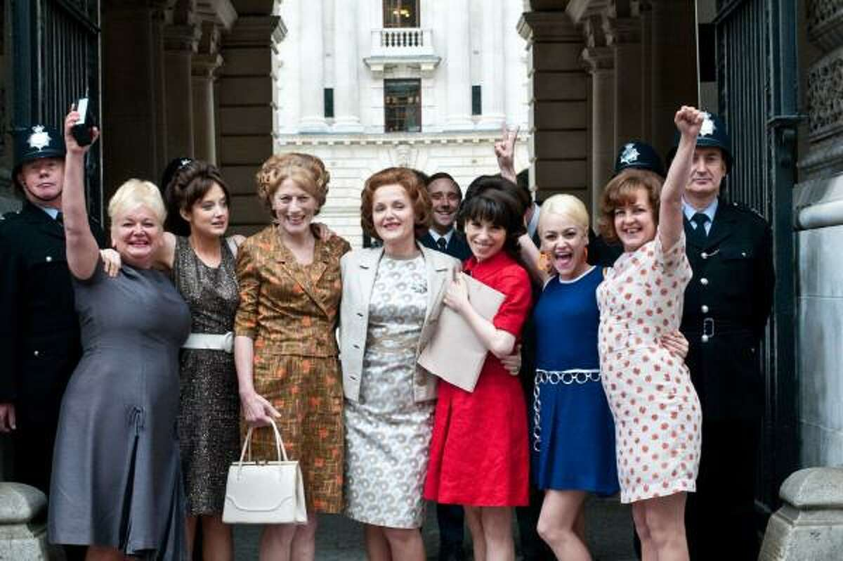 Nicola Duffett, from left, Andrea Riseborough, Geraldine James, Miranda Richardson, Sally Hawkins, Jaime Winstone and Lorraine Stanley star in Made in Dagenham.
