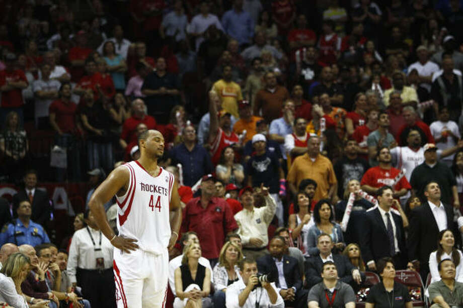 The Rockets' season ended without a playoff appearance, and the offseason brings issues such as Chuck Hayes' free agency. Photo: Michael Paulsen, Chronicle