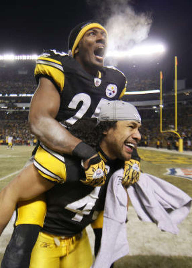 Safeties Ryan Clark, top, and Troy Polamalu are overjoyed that the Steelers will be going to their third Super Bowl in six seasons. Photo: Matt Slocum, AP