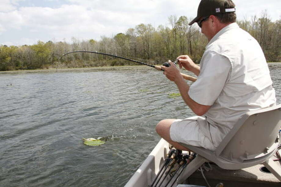 Enjoying a day on the water without having to compete with other anglers is one of the major attractions of fishing  privately owned lakes. Photo: SHANNON TOMPKINS, CHRONICLE