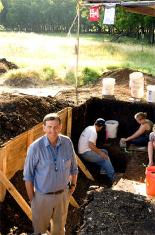 Dr. Michael Waters at the Debra L. Friedkin site northwest of Austin. Photo: Image Courtesy Michael R. Waters