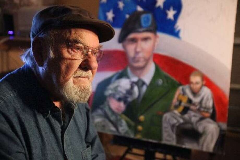 Ken Pridgeon, a 75-year-old Air Force veteran, has so far completed 20 portraits of Houston-area service members who've died in Iraq and Afghanistan. Photo: Mayra Beltran, Chronicle
