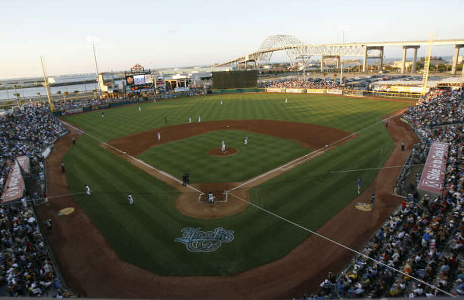 Whataburger Field, which is home to the Astros' Class AA affiliate Hooks, hosted a testy affair between the Dynamo and FC Dallas on Saturday. Photo: KAREN WARREN, Chronicle
