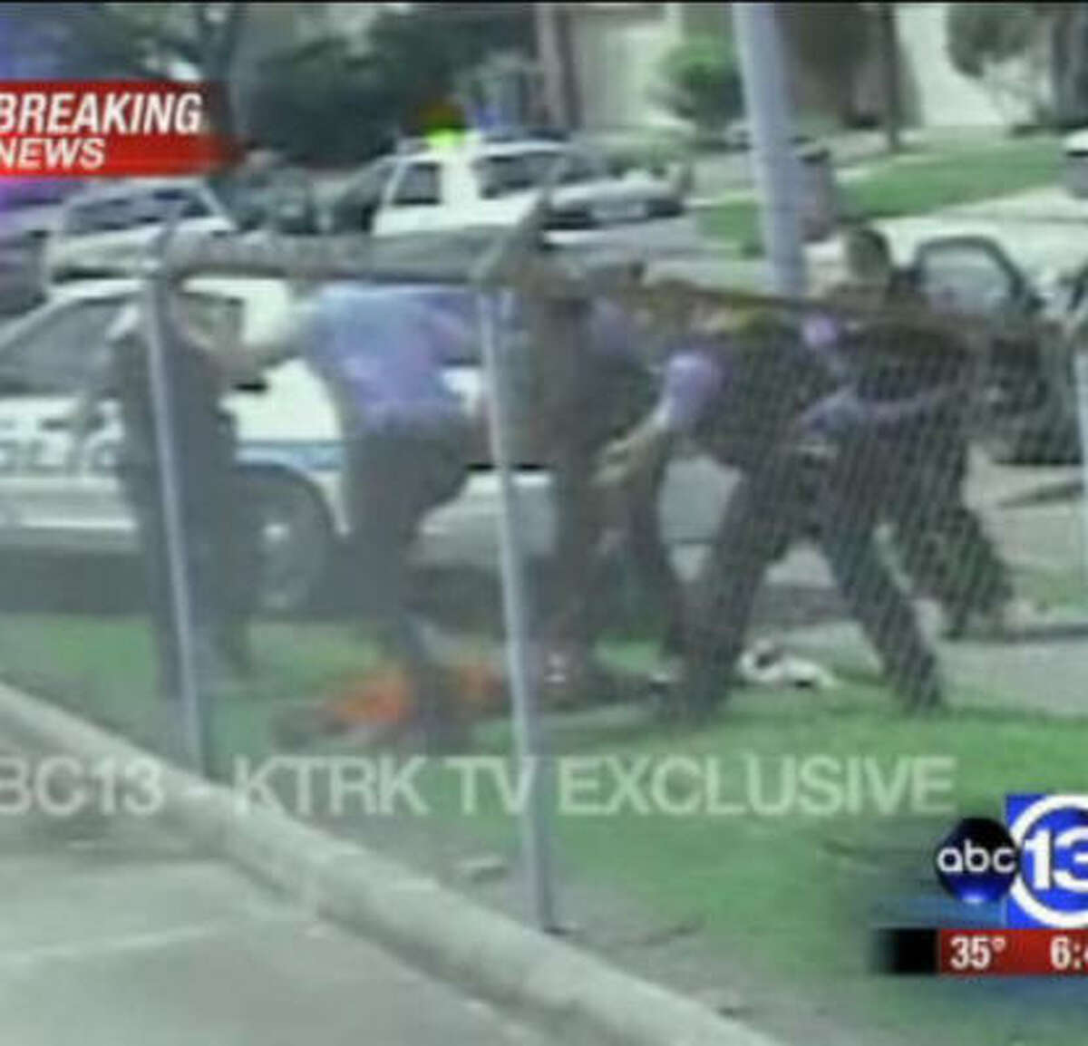 A frame from a video obtained by KTRK allegedly shows Chad Holley, 15, being beaten by HPD officers. Seven officers were fired over the beating.