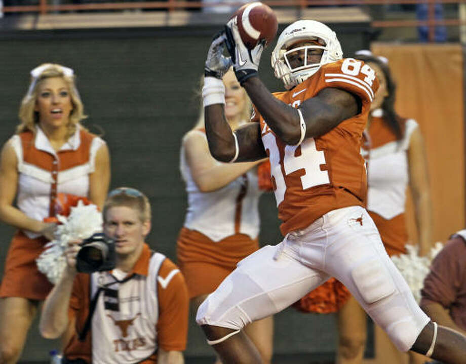 Receiver Marquise Goodwin has rejoined the UT football team after originally deciding to take a year off to focus on track. Photo: TOM REEL, SAN ANTONIO EXPRESS-NEWS
