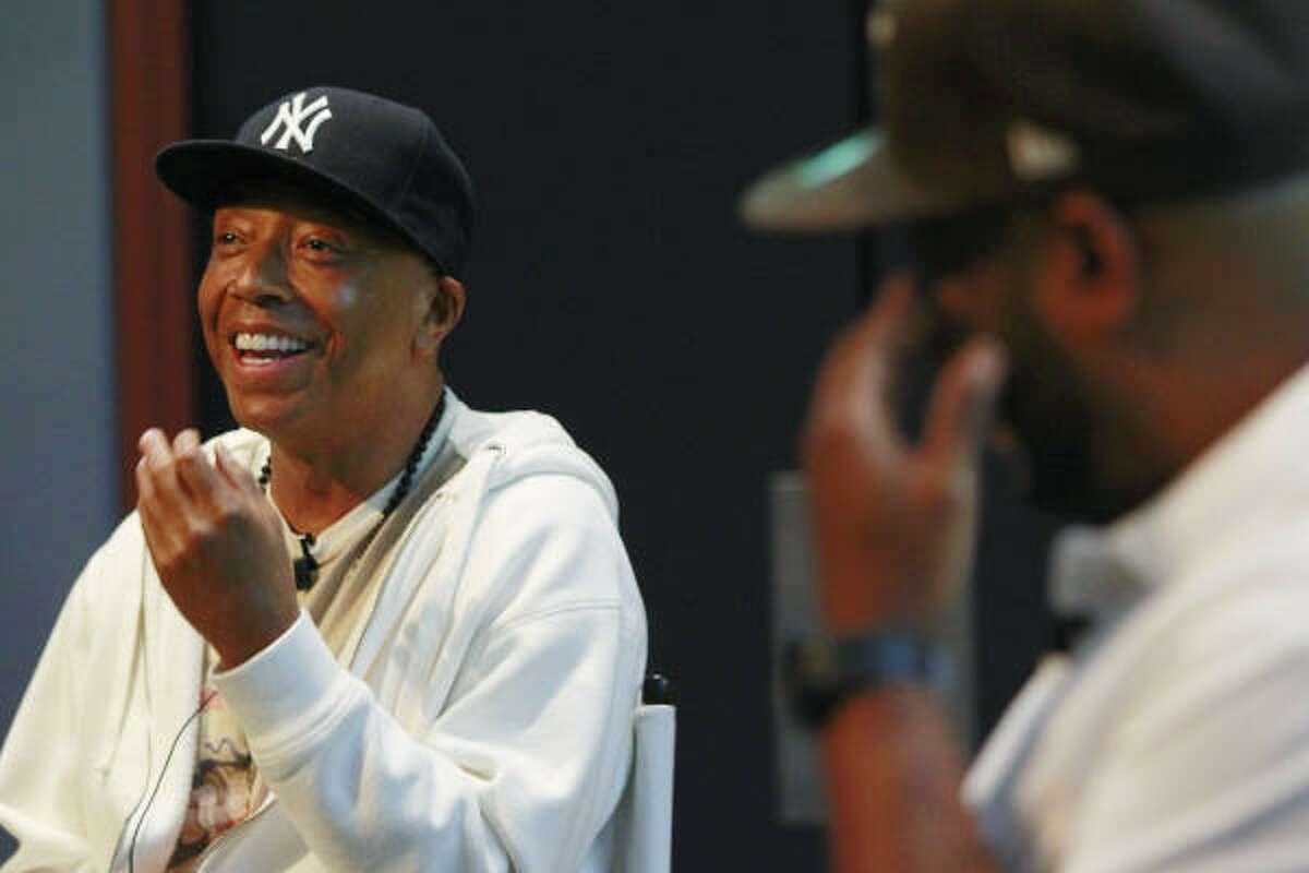 Hip-hop mogul Russell Simmons speaks to Houston students Thursday as part of the Religion and Hip-Hop Culture class taught by Rice professor Anthony Pinn and rapper Bun B.
