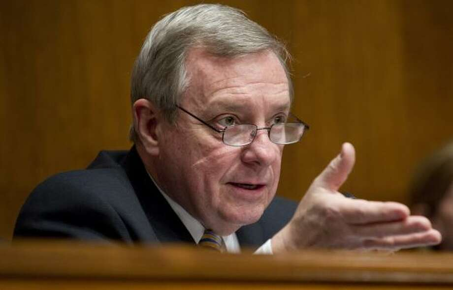 COMBATING ISLAMOPHOBIA: Sen. Dick Durbin, D-Ill., questions a witness testifying before the hearing. Photo: SAUL LOEB, AFP/Getty Images