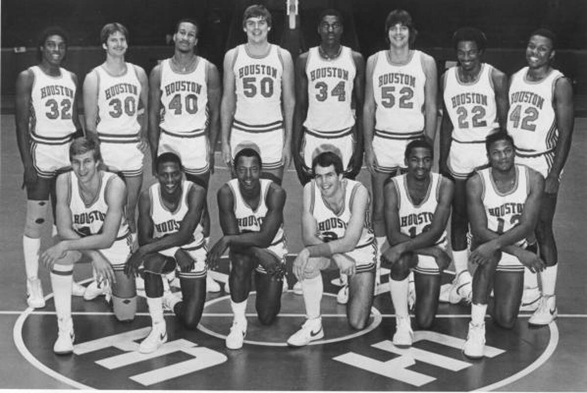 UH's 1982-83 team: Front row, from left, Reid Gettys, Eric Dickens, Alvin Franklin, David Rose, Derek Giles and Renaldo Thomas. Back row, Benny Anders, Gary Orsak, Larry Micheaux, Dan Bunce, Akeem Olajuwon, David Bunce, Clyde Drexler and Michael Young.