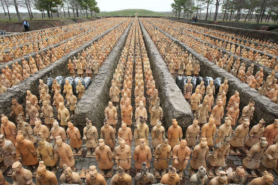 The thousands of miniature terra-cotta warriors at the Forbidden Gardens in Katy won't stand guard much longer. The park will close soon. Photo: James Nielsen, Houston Chronicle