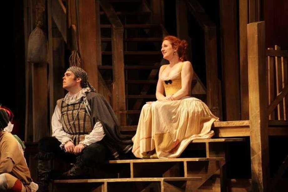 Nathaniel Peake plays Scaramucicio and Laura Claycomb plays Zerbinetta in HGO's production of Richard Strauss' Ariadne auf Naxos. Photo: Felix Sanchez, Houston Grand  Opera