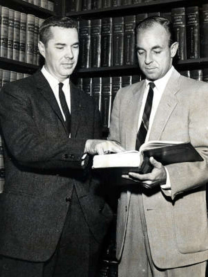 "Then-Harris County District Attorney-elect Frank Briscoe, left, with aide Wallace C. ""Pete"" Moore in 1960. Photo: Frank Pusateri, Chronicle"