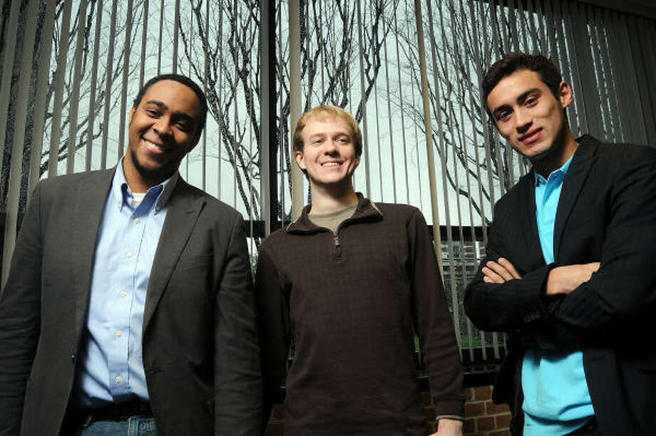 GroupRaise co-founders Devin Baptiste, left, Paul Kwiatkowski, center, and Kevin Valdez are seniors at Rice University and the University of St. Thomas. Their company connects nonprofits with restaurants that are willing to host fundraisers. Photo: Dave Rossman:, For The Chronicle