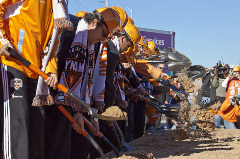 The Dynamo, who held a ceremonial stadium groundbreaking Feb. 5, expect to begin construction Wednesday. Photo: Eric Kayne, For The Chronicle