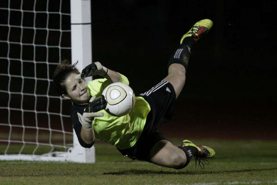 Clear Springs goalkeeper Jordan Oliver's big saves helped salvage a 0-0 tie. Photo: Bob Levey, Chronicle