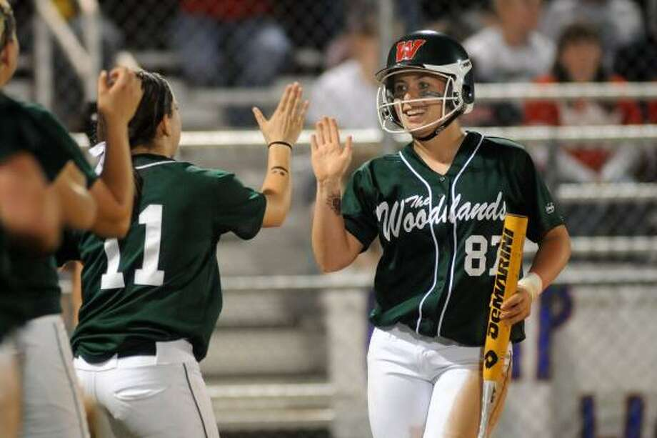 JERRY BAKER : FOR THE CHRONICLE ALL SMILES: The Woodlands' Jessica Snyder, right, is congratulated by teammate Kelsey Jolly, left, after scoring against Atascocita earlier this year. Photo: Jerry Baker, For The Chronicle