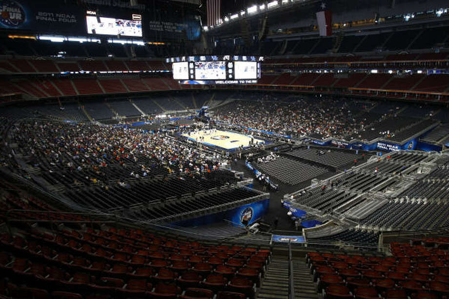 A view from the seats in Section 331 at Reliant Stadium before the Final Four. Photo: Michael Paulsen, Chronicle