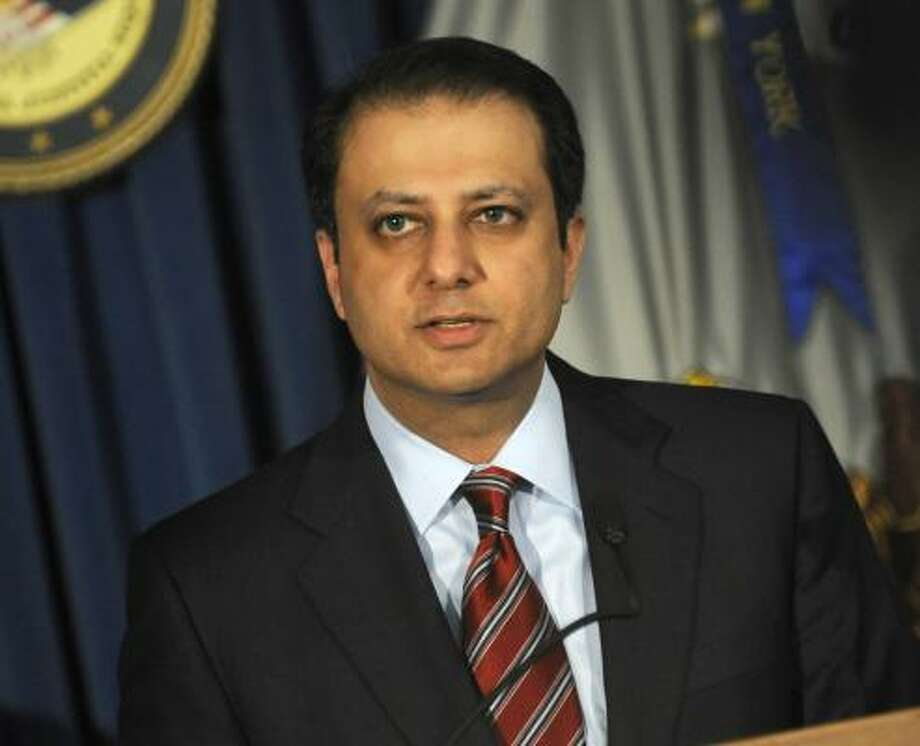 "Preet Bharara, the U.S. attorney in Manhattan, has been hailed by some in the financial media as the ""sheriff of Wall Street."" Photo: Louis Lanzano:, Bloomberg"
