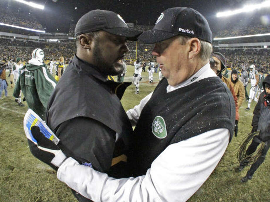 Texans coach Gary Kubiak doesn't have much in common with Steelers coach Mike Tomlin, left, and Jets coach Rex Ryan, right, columnist Jerome Solomon writes. Photo: Gene Puskar, AP