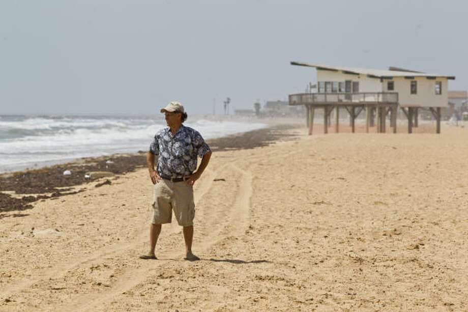 "Surfside Mayor Larry Davison expects his coastal community's newly replenished stretch of sand to be ""a premier beach"" and boost tourism. Photo: Melissa Phillip, Chronicle"
