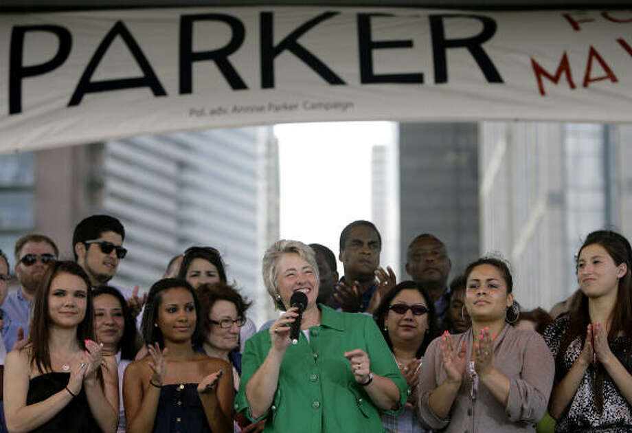 "At Discovery Green on Saturday, Mayor Annise Parker told the crowd that Houston is ""better off"" now. She's vying for a second term in officer. But some observers say the Parker re-election campaign could face difficulties. Photo: Cody Duty, Chronicle"