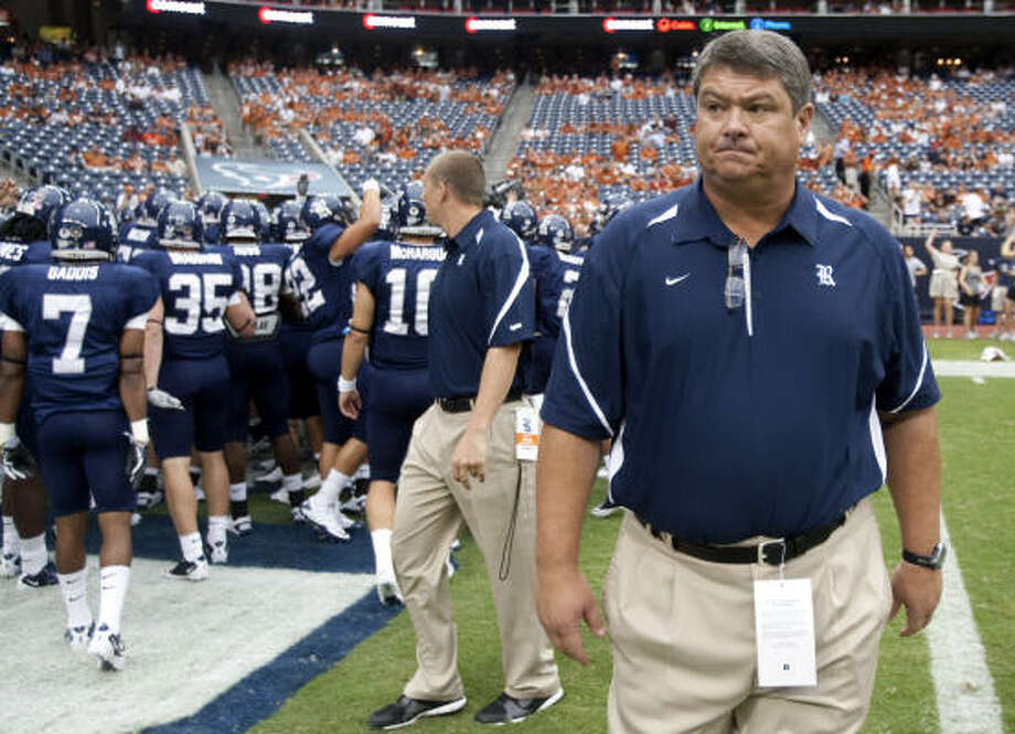 Rice coach David Bailiff lost defensive line coach Craig Naivar, who took a coordinator job with Texas State, but isn't losing his top recruits. Photo: Brett Coomer, Chronicle