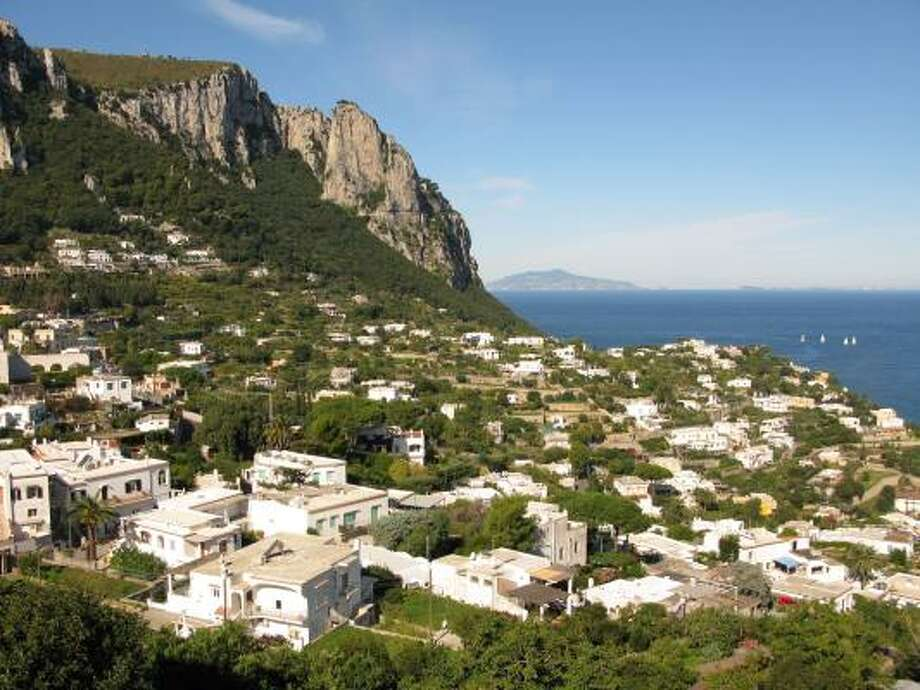 A terrace near the top of a funicular that transports visitors to the town of Capri provides gorgeous views of the isle. Photo: AMY LAUGHINGHOUSE