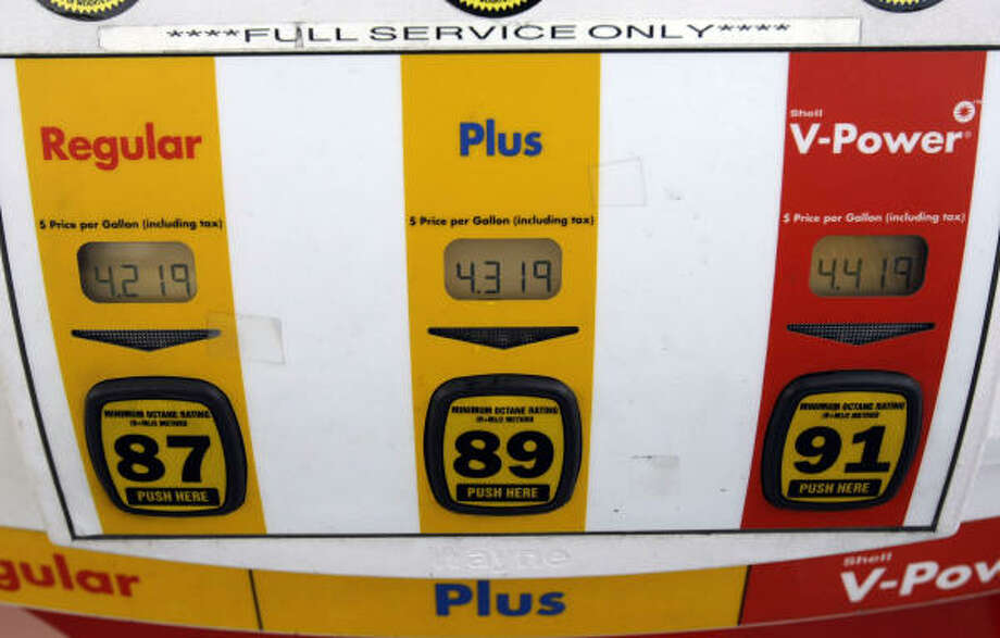 Gasoline prices in Houston are sky-high, it's true. But the prices on these Shell pumps in Menlo Park, Calif., are already well on their way to the moon. Photo: Paul Sakuma, Associated Press