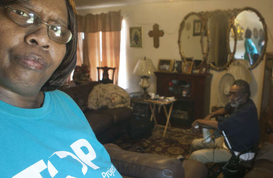 Debra Walker, at her southeast Houston home with her uncle, Jessie Anderson, says she and her husband see their living costs go up as they try to get by on a small fixed income. Photo: Cody Duty, Chronicle