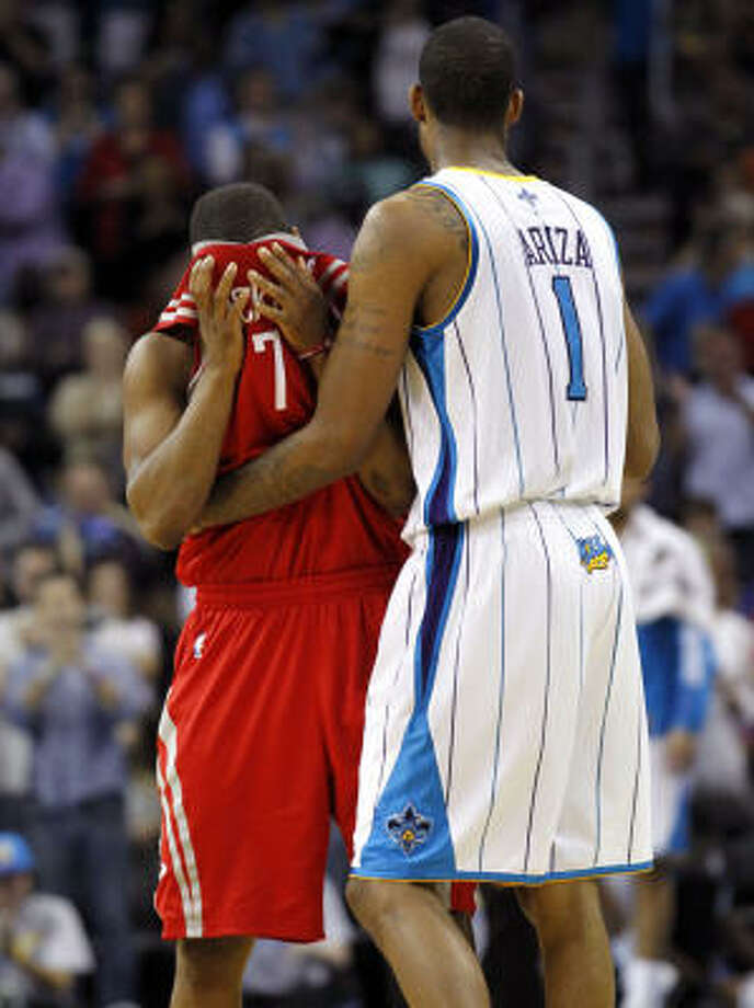 Kyle Lowry and the Rockets watched former teammate Trevor Ariza and the Hornets celebrate a playoff spot. Photo: Gerald Herbert, AP