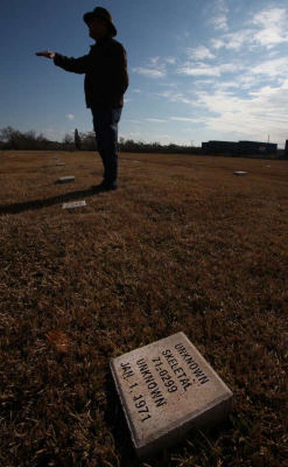 The remains of the unidentified girl buried at the county cemetery were the second oldest archived in the Harris County morgue until finally buried in 2004. Photo: Mayra Beltran, Chronicle