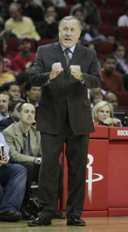 At 64, Rockets coach Rick Adelman has the energy for his job, but he may opt to retire. Photo: Karen Warren, Chronicle