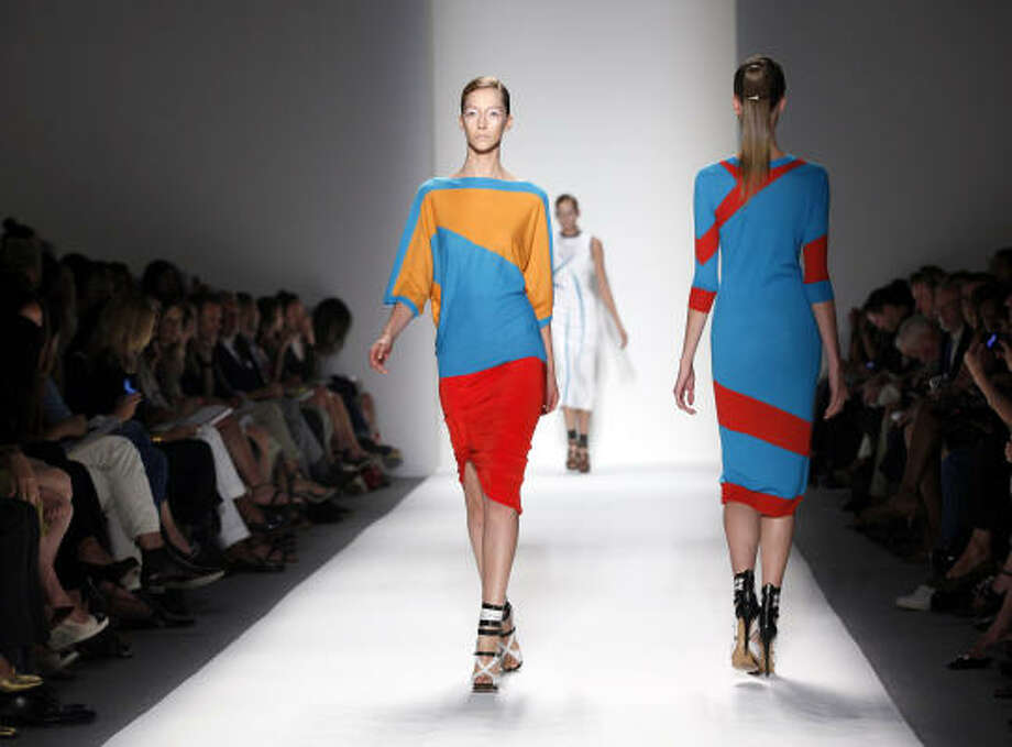 Want to get a jump on fall? Start with spring. Colorblocking will continue to be strong, experts say, as in this look from Prabal Gurung's spring 2011 collection. Photo: STUART RAMSON, AP
