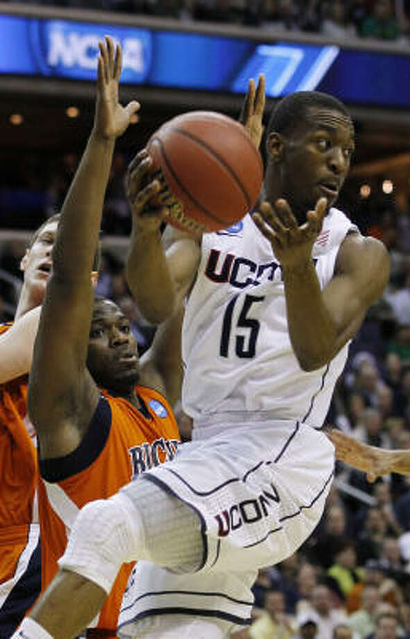 Connecticut guard Kemba Walker had 18 points, 12 assists and eight rebounds in Thursday night's victory. Photo: AP