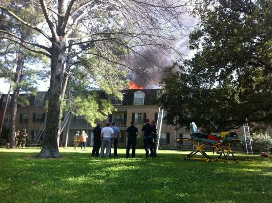 Fire broke out about 3:45 p.m. Monday in one of the buildings at the Treemont Retirement Community, 2501 Westerland near Westheimer. Photo: Cody Duty, Houston Chronicle
