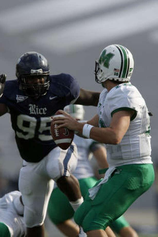 Rice's Cheta Ozougwu will play outside linebacker for the Texans. Photo: Johnny Hanson, Chronicle