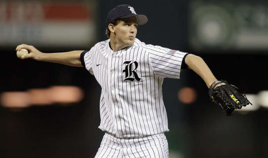 Rice pitcher Austin Kubitza struck out a career-high 11 batters on Friday night. Photo: Bob Levey, For The Chronicle
