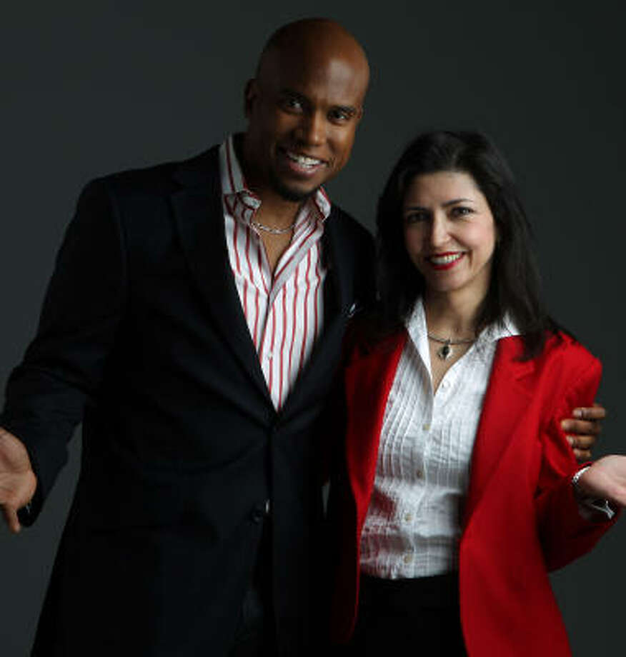 Motivational speakers Jonathan Sprinkles and Laura Morales. Photo: James Nielsen, Chronicle