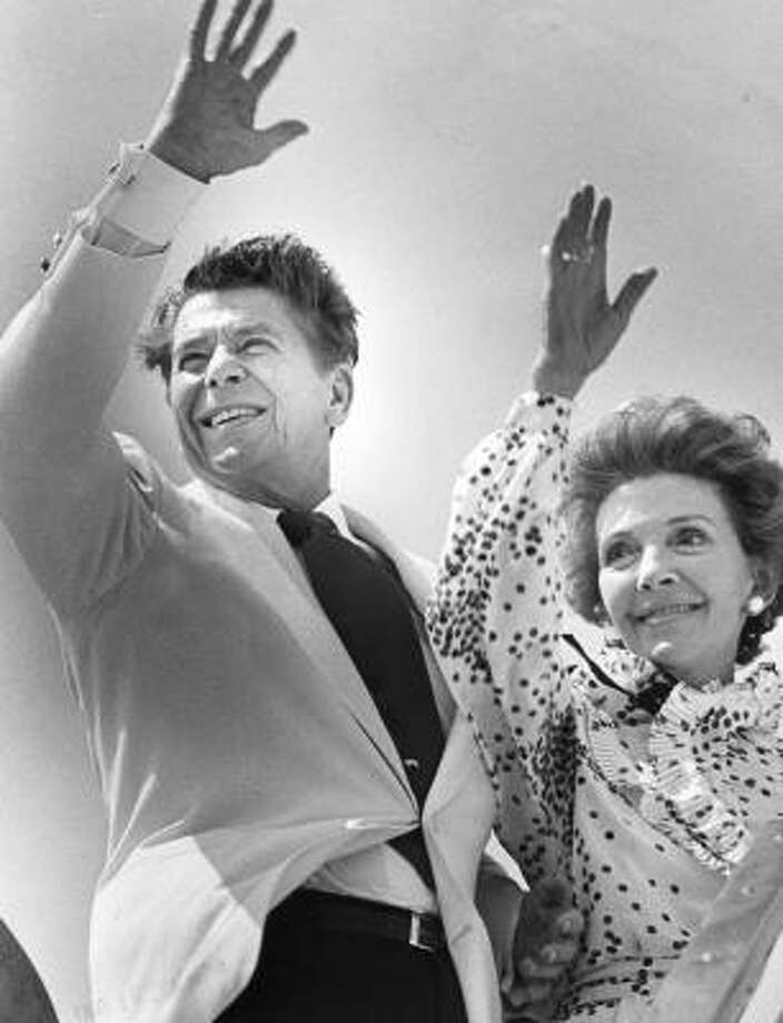 Ronald Reagan and his wife, Nancy, depart Hobby Airport after a campaign stop in July 1980, the year he was elected president. Photo: John Everett, Chronicle File