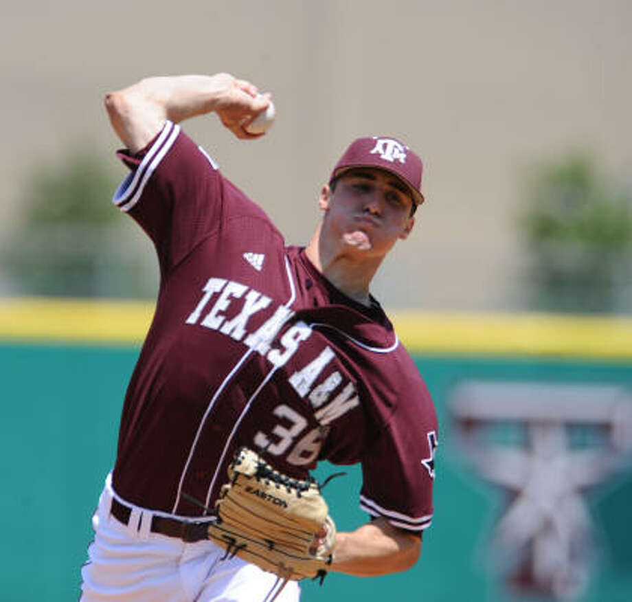 A&M starting pitcher Ross Stripling went the distance Sunday allowing one run on four hits and striking out eight. Photo: Rod Aydelotte, AP