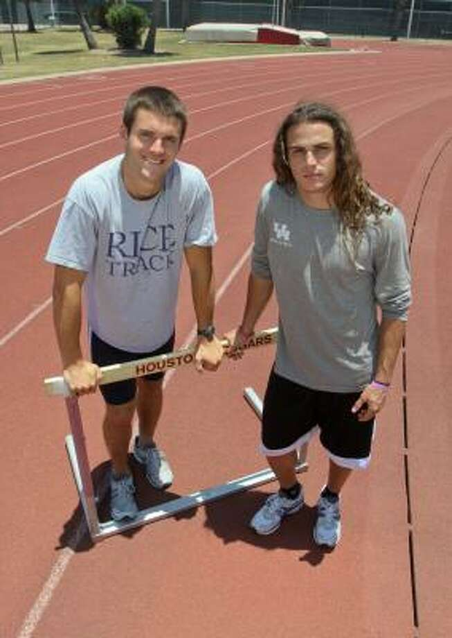 Rice's Philip Adam, left, and UH's Wesley Bray have battled for four years in the heptathlon and decathlon. The multi-event stars have developed a friendship to go along with their rivalry and will battle for the last time as collegians at the NCAA Championships in Des Moines. Photo: Gary Fountain, For The Chronicle