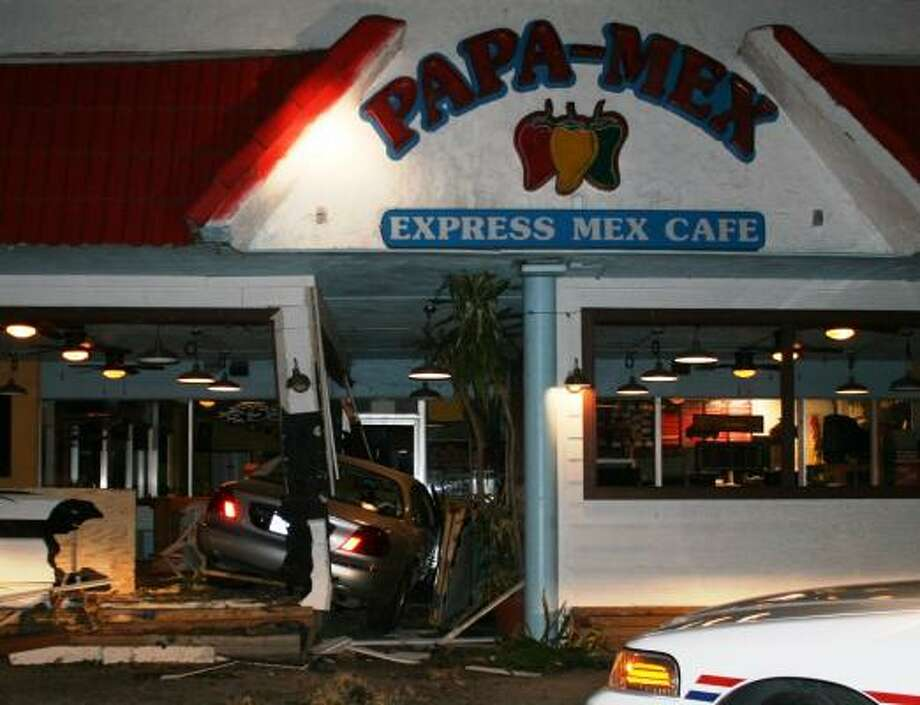 SUDDEN END: The chase ended abruptly inside the Papa-Mex restaurant in Rosenberg Monday night. Nobody was in the restaurant at the time. Photo: Richmond Police Department Photo