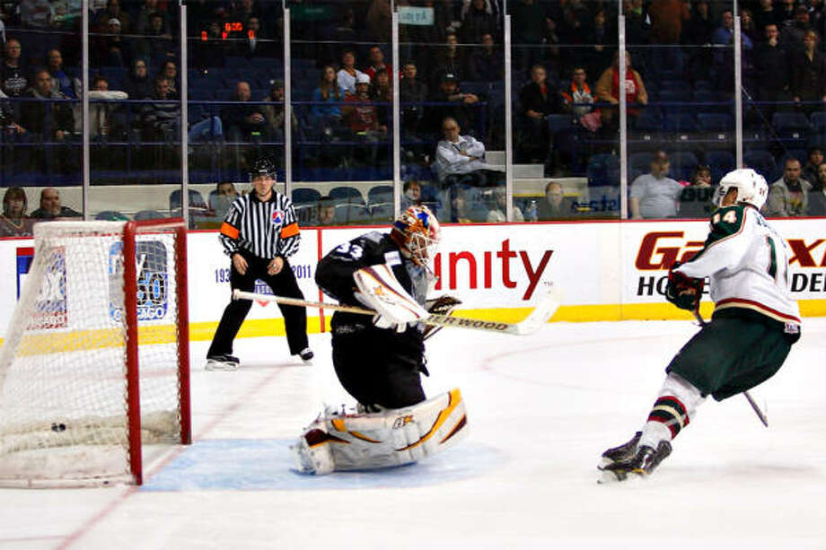 The Aeros Jon DiSalvatore found the back of the net twice on Friday night. Photo: Chris Jerina, For The Chronicle