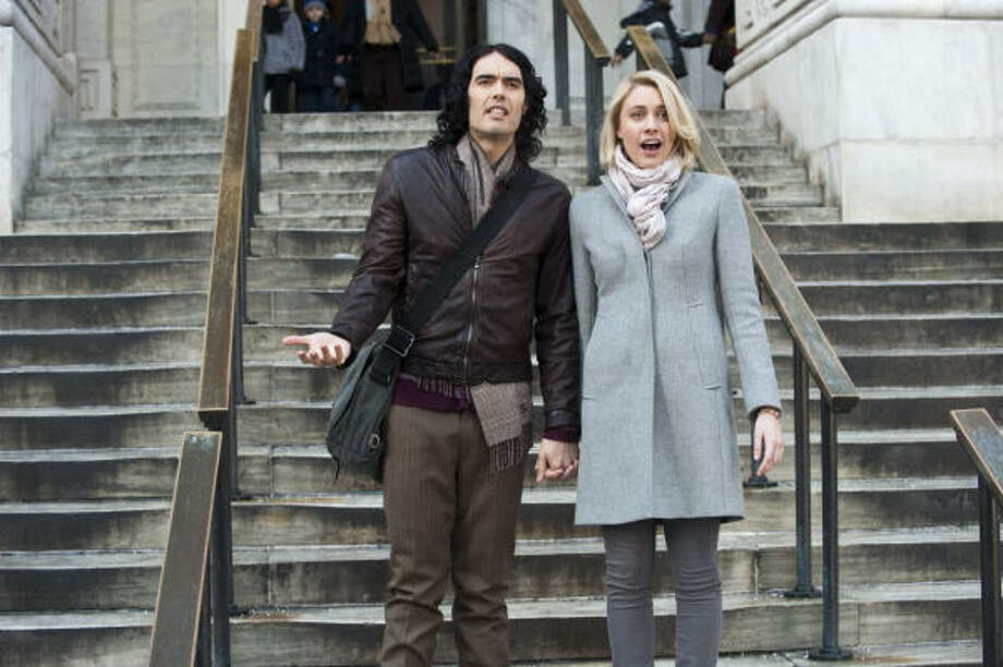 Russell Brand and Greta Gerwig star in Arthur. Photo: Barry Wetcher, Warner Bros. Pictures