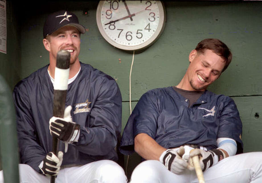 The clock could be about to strike on Hall of Fame enshrinement for Jeff Bagwell, left, who is in his first year of eligibility for baseball's highest honor. His longtime teammate, Craig Biggio, right, is a virtual lock to get in when he's eligible in 2012. Photo: Howard Castleberry, Chronicle